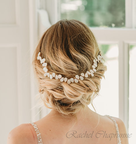 Luxury wedding hair vine with pearl leaf - Averie