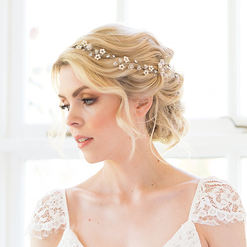 Bohemian wedding hair vine with Swarovski pearl - Eden