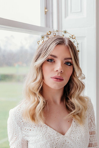 Statement Celestial bridal Headpiece in gold -Cassiopeia