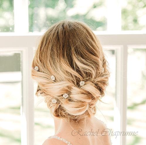 Swarovski crystal wedding hair pins x 6