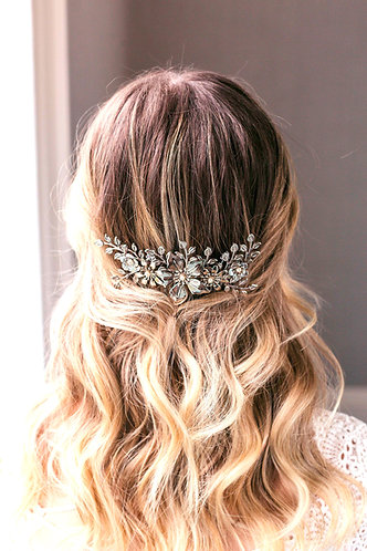 Flower bridal hair comb in silver or gold - Harmonia