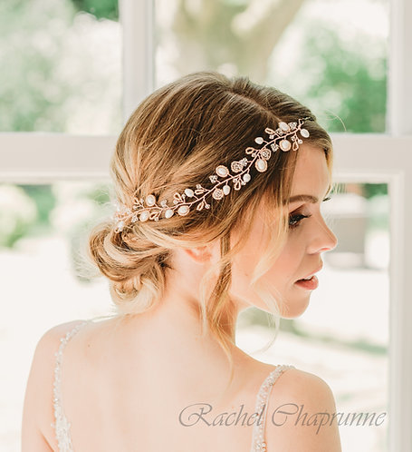 Rose gold bridal hair vine with Swarovski pearls and crystals