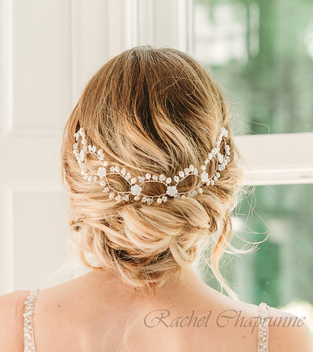 Pearl wedding headpiece for a bohemian bride - Sienna