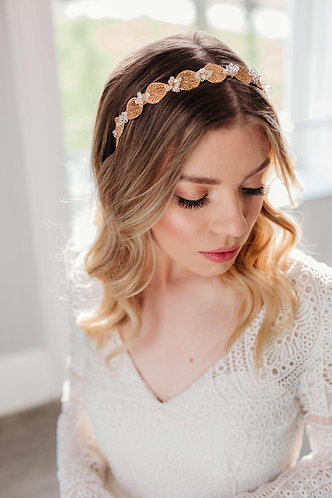 Unique gold crystal wedding headpiece - Eos