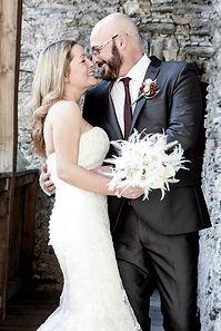 rachel chaprunne and her husband chris on her wedding day