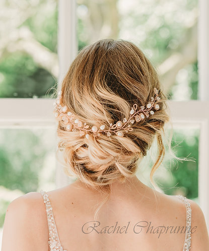 Bridal hair vine in rose gold, silver or gold