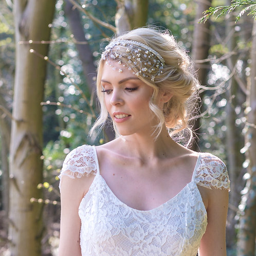 Statement Crystal and Pearl Wedding Headpiece - Calliope