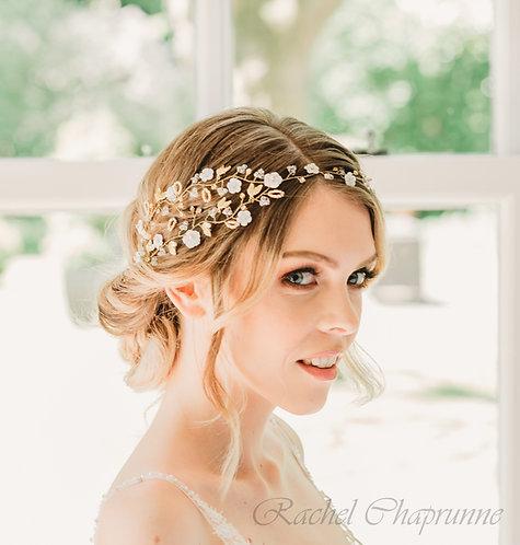 Statement gold bridal hair vine with Swarovski crystals - Georgia