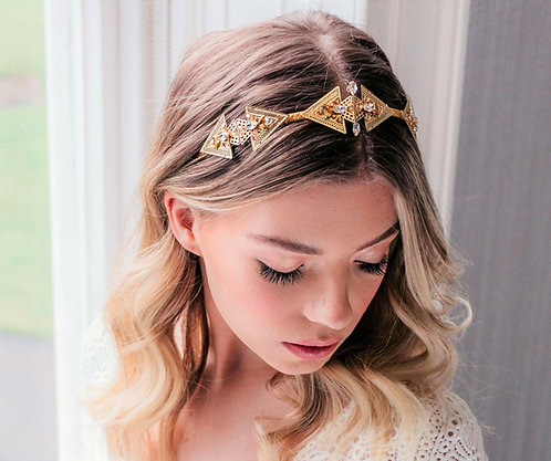 Unique gold vintage wedding headpiece - Delphinus