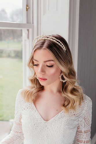 Pearl wedding headpiece double halo - Ophelia
