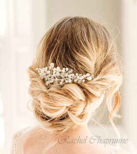 Pearl and crystal bridal hair comb Madelyn
