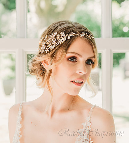 Statement gold bridal hair vine with flowers - Mia