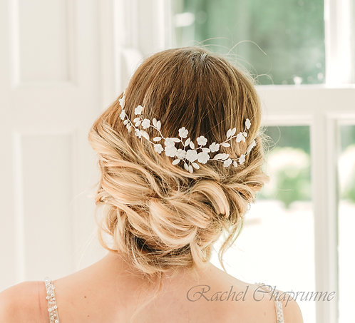 Bohemian bridal headpiece with Swarovski crystal and mother of pearl