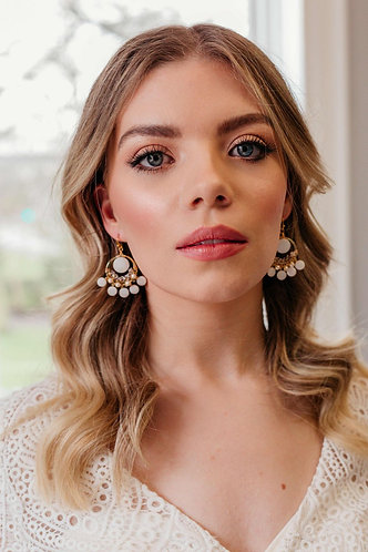Statement boho pearl bridal earrings - Isolde