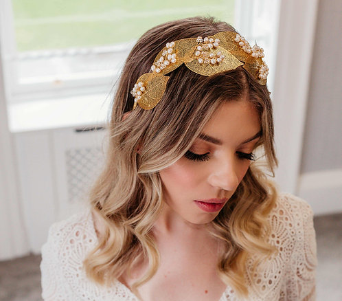 Boho bridal headpiece with leaves & pearls in silver or gold - Thalia