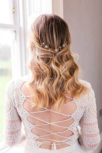 Wedding headpiece with stars in silver or gold -