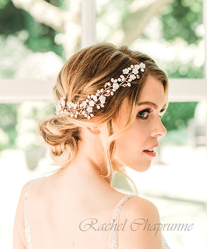 Rose gold bridal headpiece for a boho wedding