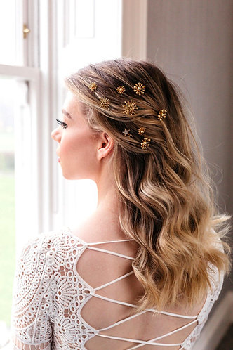 Celestial wedding hair piece with stars in gold