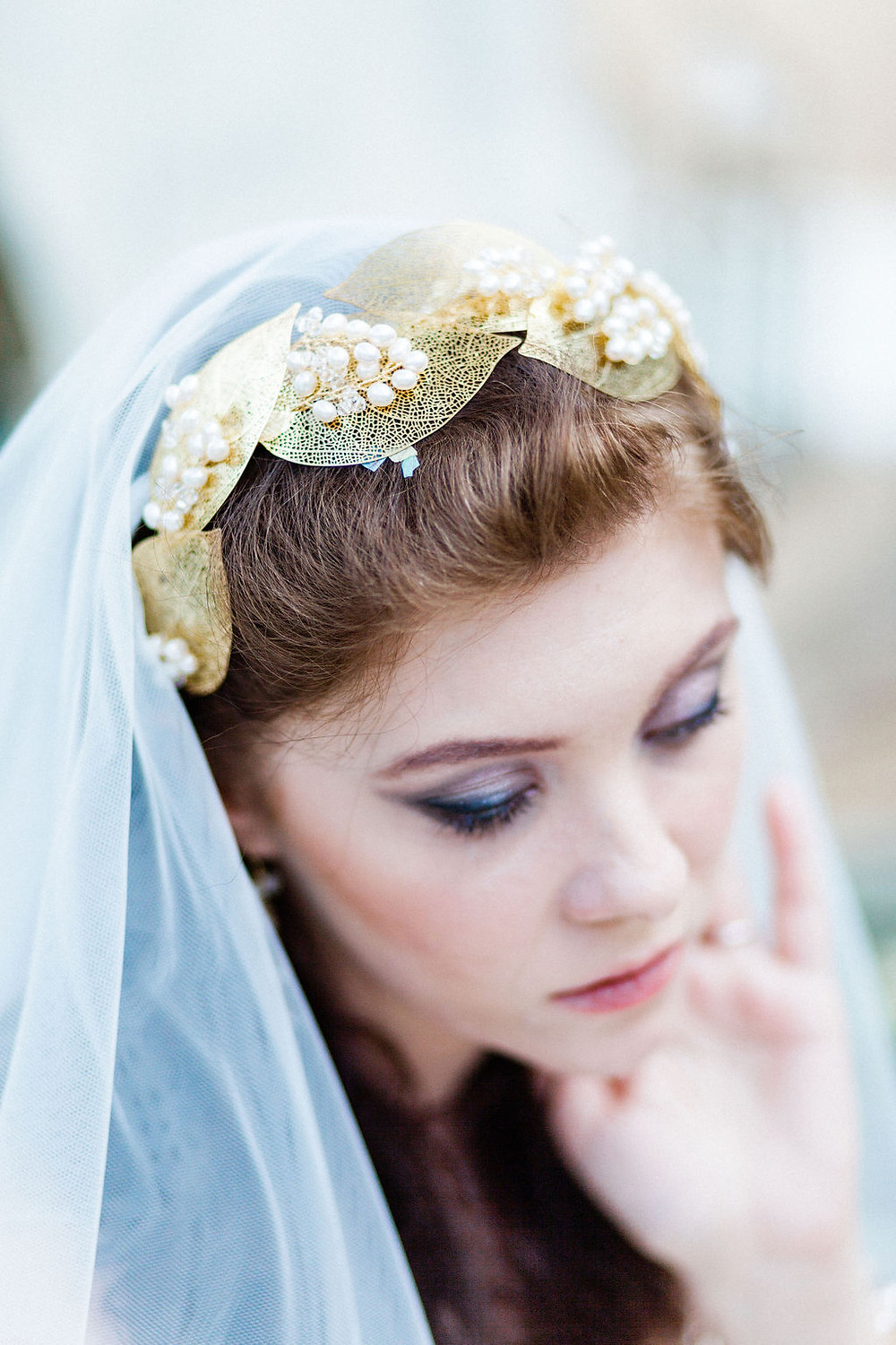 Gold leaf headband with pearl floral detailing