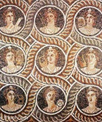Nine Muses,  Mosaico greco-romano Museu de Arqueologia de Cos