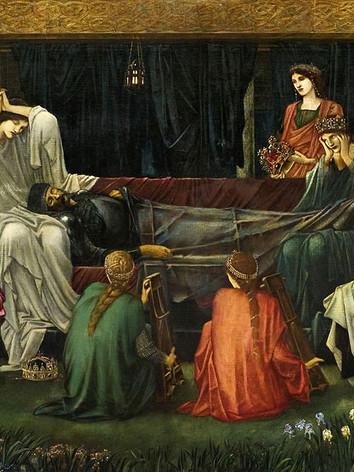 Edward Burne-Jones The last sleep of Arthur. A lenda conta que Artur, ferido na batalha de Camlan, procurou refúgio e cura junto de  Morgana e das suas oito irmãs,  na Ilha de Avalon