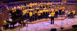 Yellow shirts, purple light
