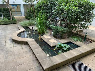 Courtyard pond at a retirement village