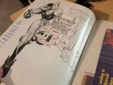 """Essquisse, travail préparatoire de la solution de Super Metroid pour le magazine """"Nintendo Player"""""""