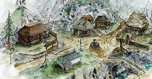 Village Agartha dreamcast esquisse