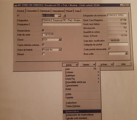 système informatique Navision SEGA Dream