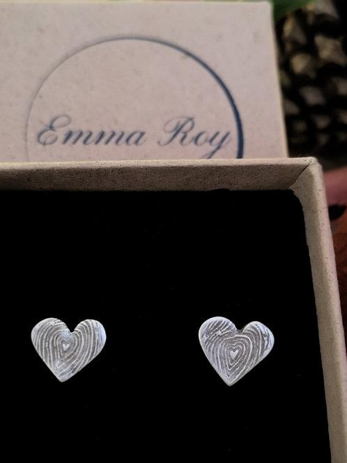 Woodgrain Heart 3D  Stud Earrings