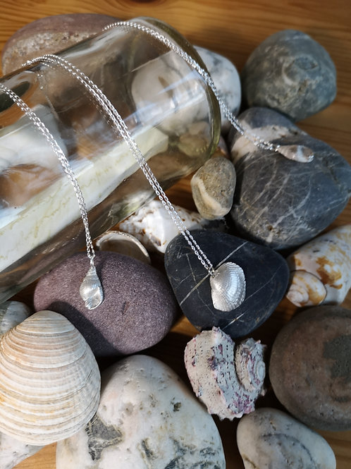 eco-friendly, handmade silver shell necklace