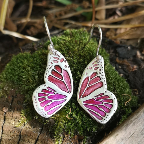 Magenta Flutterby Fairy Wing Earrings