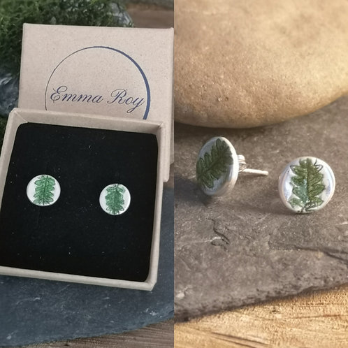 Hand Painted Fern Stud Earrings