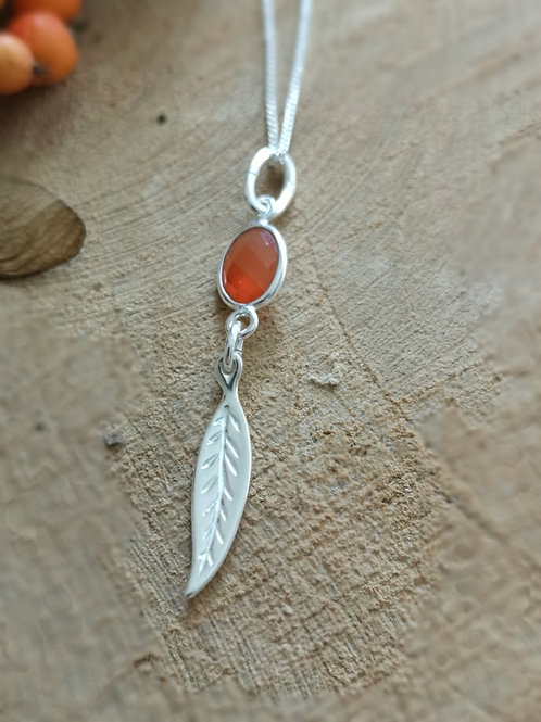 Sterling Silver and Carnelian leaf Necklace