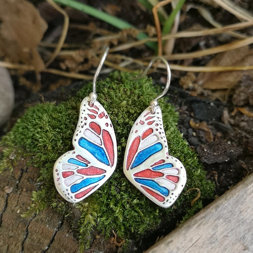 Red and Blue Flutterby Fairy Wing Earrings