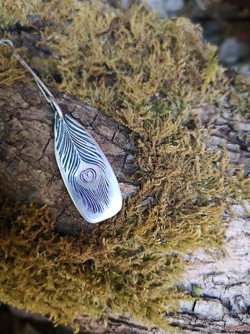 Handpainted Peacock Feather Necklace