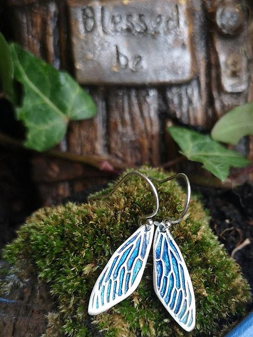 Blue Fairy Wing Earrings