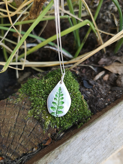 Hand Painted Fern Necklace