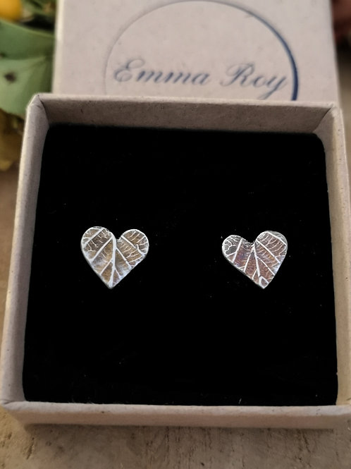 Heart 3D Leaf Stud Earrings