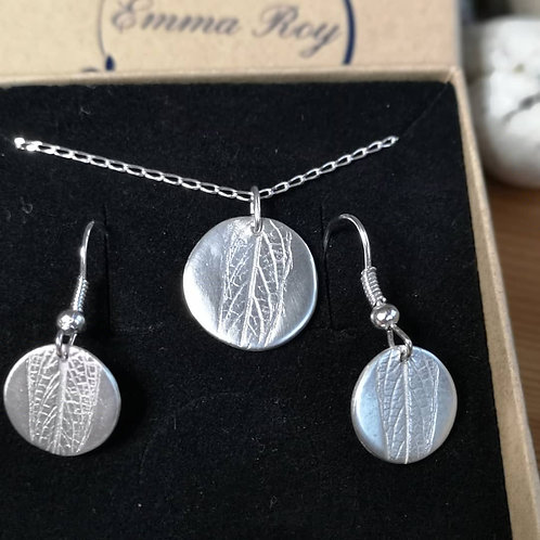Real Leaf Circle Earrings