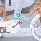 bicyle  with blue shoes