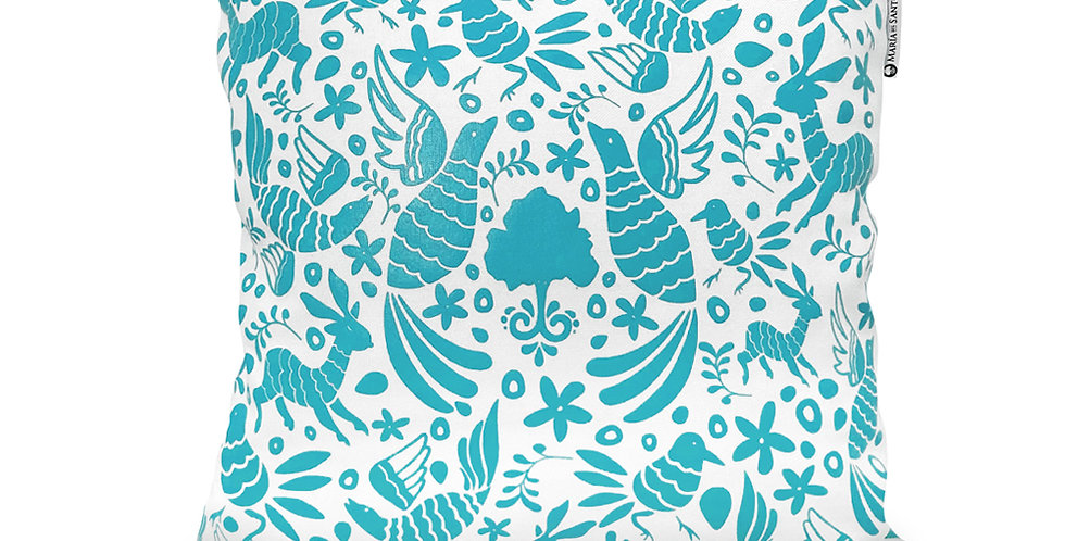 Otomi Throw Pillow Cover -Teal