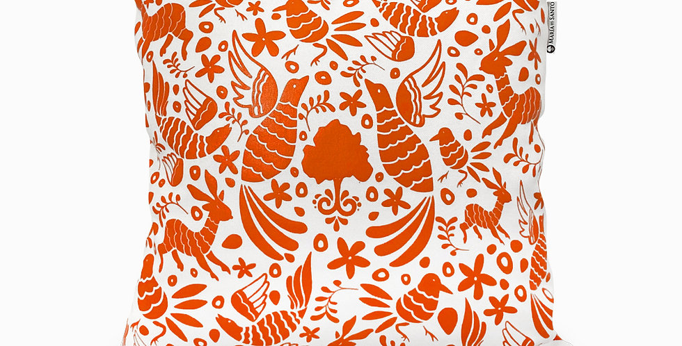 Otomi Throw Pillow Cover - Fire Orange
