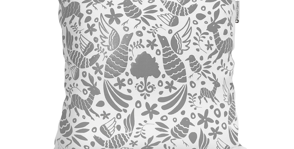 Otomi Throw Pillow Cover - Light Grey - Rebozo