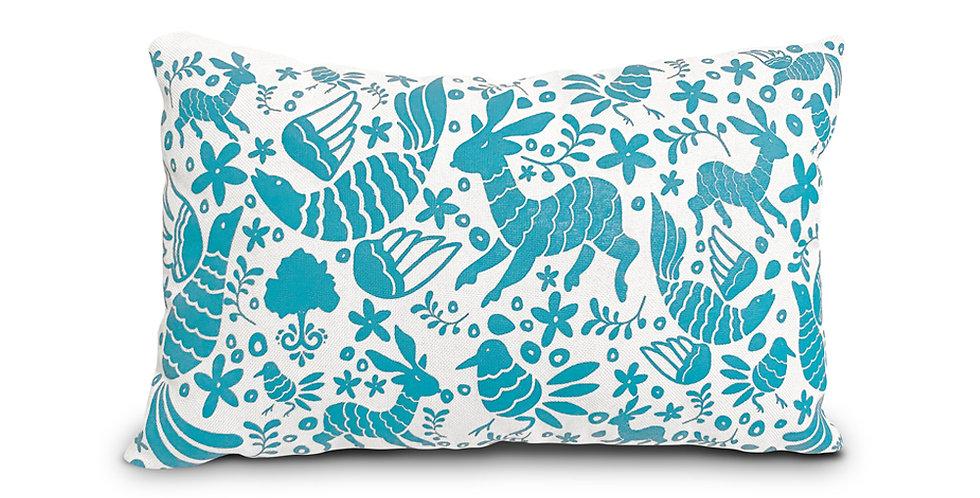Otomi Throw Pillow Cover - Royal Blue