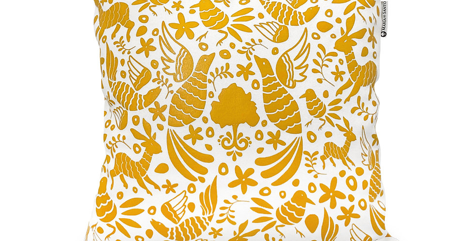 Otomi Throw Pillow Cover - Mustard