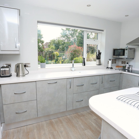 Light grey Luxe and Athena worktop