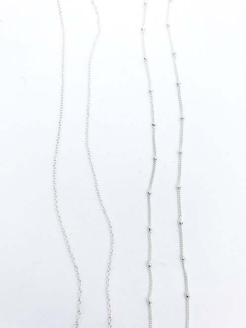 Sterling Silver Cable Chain (left)