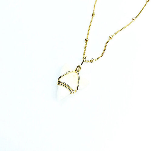 White Charm w/ 14kt beaded chain (402)